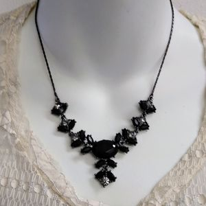Avon Black Glass Onyx Blue Rhinestones Necklace
